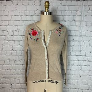 Sparrow Floral Embroidered Striped Thin Cardigan